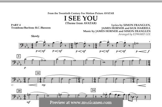 I See You (Theme from Avatar): Pt.4 - Trombone / Bar. B.C. / Bsn. part by James Horner, Simon Franglen