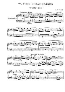 Suite No.6 in E Major, BWV 817: Para Piano by Johann Sebastian Bach