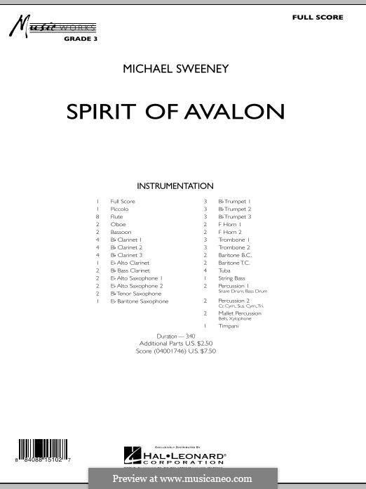 Spirit of Avalon: Conductor score (full score) by Michael Sweeney