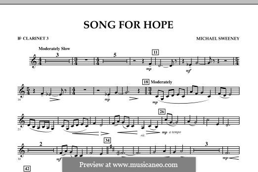 Song for Hope: Bb Clarinet 3 part by Michael Sweeney