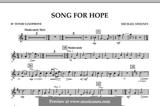 Song for Hope: Bb Tenor Saxophone part by Michael Sweeney