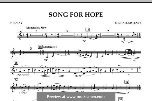 Song for Hope: F Horn 2 part by Michael Sweeney