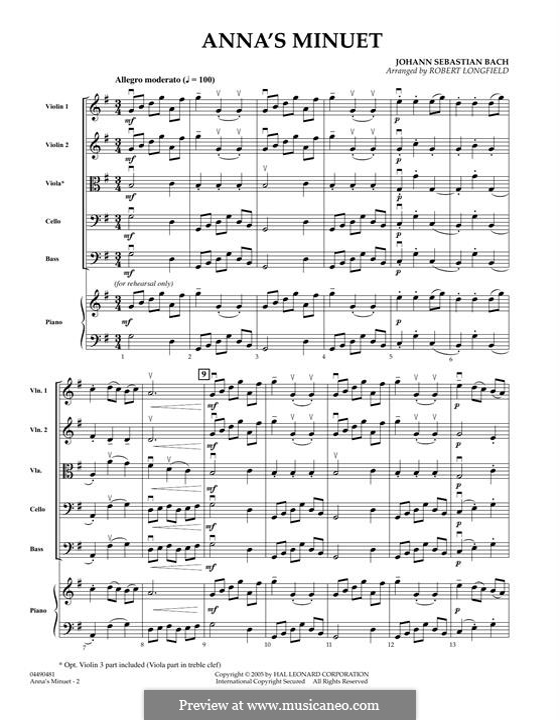 No.4 Minuet in G Major, BWV Anh.114: Conductor score (full score) by Johann Sebastian Bach