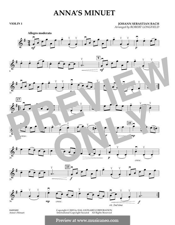 No.4 Minuet in G Major, BWV Anh.114: Violin 1 part by Johann Sebastian Bach