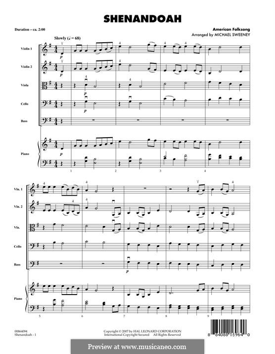 Shenandoah: partitura completa by folklore