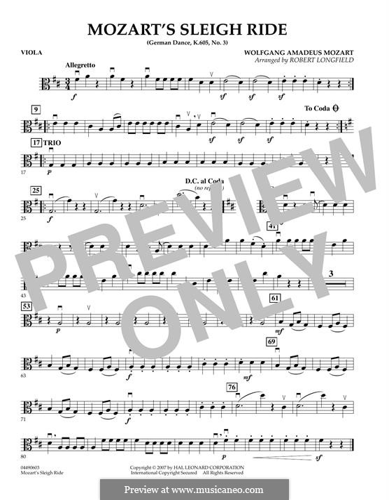 Three German Dances, K.605: Dance No.3 - viola part by Wolfgang Amadeus Mozart