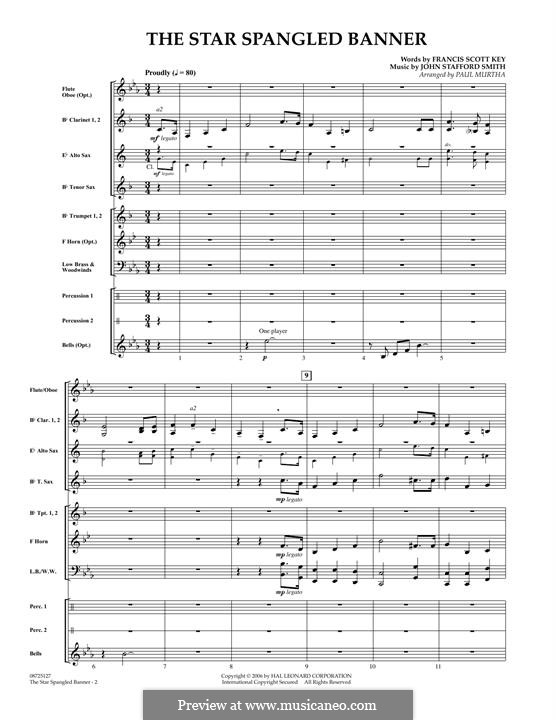 The Star Spangled Banner (National Anthem of The United States). Printable Scores: partitura completa by John Stafford Smith