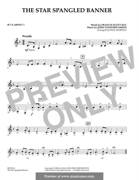 The Star Spangled Banner (National Anthem of The United States). Printable Scores: Bb Clarinet 1 part by John Stafford Smith