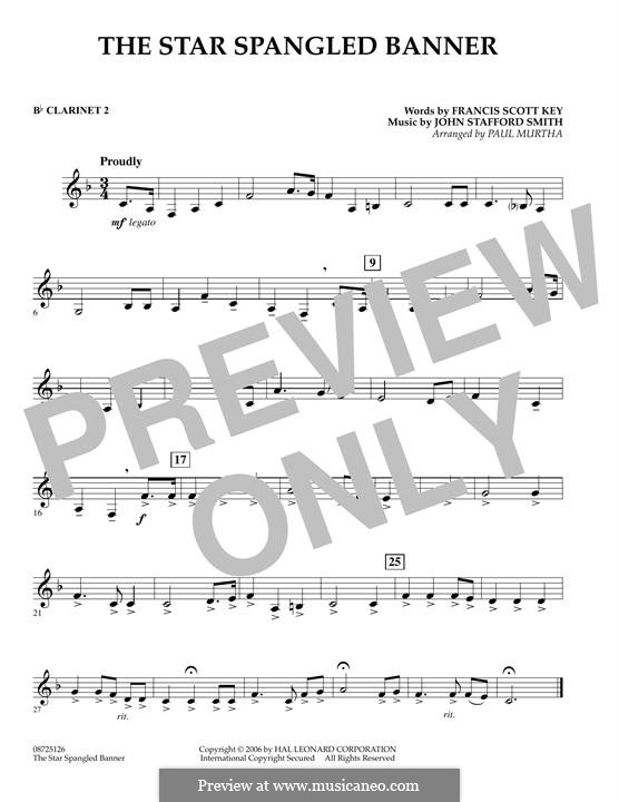 The Star Spangled Banner (National Anthem of The United States). Printable Scores: Bb Clarinet 2 part by John Stafford Smith