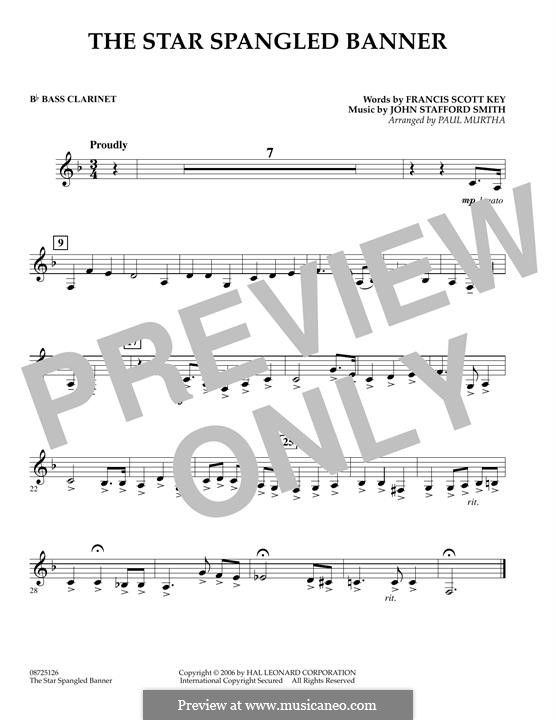 The Star Spangled Banner (National Anthem of The United States). Printable Scores: Bb Bass Clarinet part by John Stafford Smith