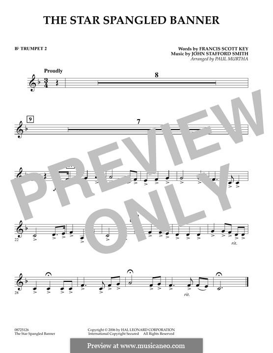 The Star Spangled Banner (National Anthem of The United States). Printable Scores: Bb Trumpet 2 part by John Stafford Smith