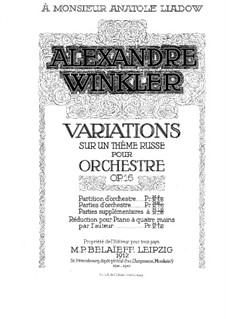 Variations on a Russian Theme, for Piano Four Hands, Op.16: Variations on a Russian Theme, for Piano Four Hands by Alexander Winkler
