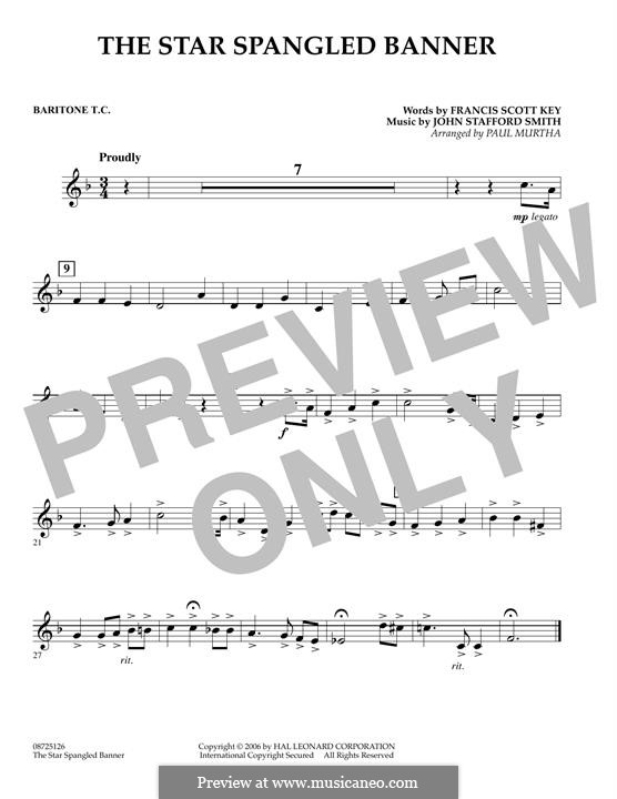 The Star Spangled Banner (National Anthem of The United States). Printable Scores: Baritone T.C. part by John Stafford Smith