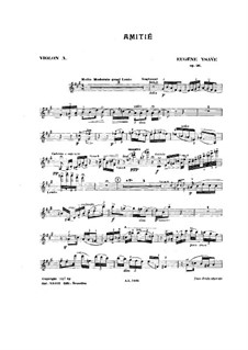Amitié. Poem, Op.26: For two violins and piano – violin I part by Eugène Ysaÿe
