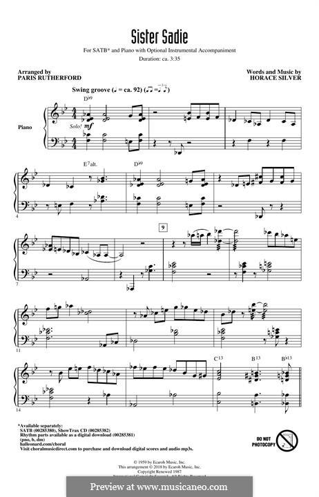 Sister Sadie: para coro misto by Horace Silver