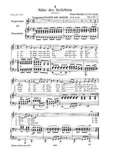 Nähe des Geliebten (Nearness of the Beloved), D.162 Op.5 No.2: para voz baixa e piano by Franz Schubert