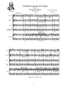 Concerto for Strings in G Major, RV 150: Score and parts by Antonio Vivaldi