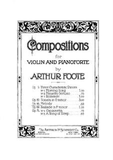 Melody for Violin and Piano, Op.44: Parte de solo by Arthur Foote