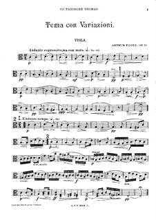 Theme and Variations for String Quartet, Op.32: parte viola by Arthur Foote