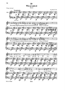 Wiegenlied (Cradle Song), D.498 Op.98 No.2: para voz baixa e piano by Franz Schubert