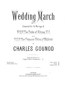 Wedding March No.1 for Organ and Three Trombones: parte orgão by Charles Gounod