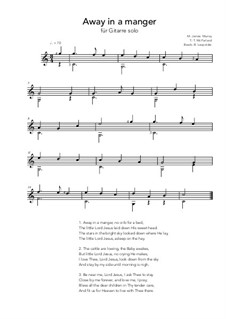 Away in a Manger: For guitar solo (C Major) by James R. Murray