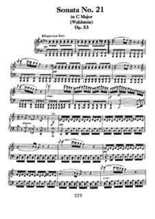Sonata for Piano No.21 'Waldstein', Op.53: para um único musico (Editado por H. Bulow) by Ludwig van Beethoven
