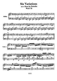 Six Variations on 'Nel cor più non mi sento' from 'La Molinara' by G.Paisiello, WoO70: Para Piano by Ludwig van Beethoven