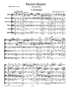 Chamber Concerto in the Old Style for Flute and String Orchestra, Op.112: Partitura completa by Emil Kronke
