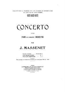 Piano Concerto in E Flat Major: Versão para dois pianos de quatro mãos by Jules Massenet