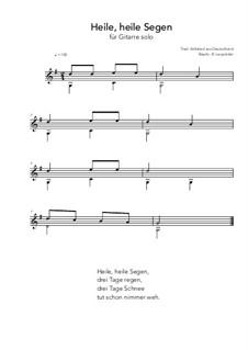 Heile, heile Segen: For guitar solo (G Major) by folklore