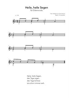 Heile, heile Segen: For guitar solo (F Major) by folklore