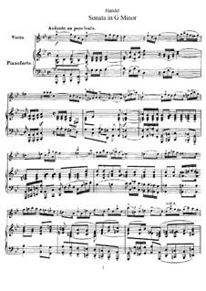Sonata for Violin and Harpsichord in G Minor, HWV 368 Op.1 No.10: versão para violino e piano by Georg Friedrich Händel