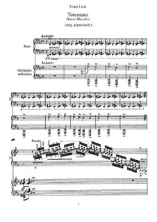 Dance of Death, for Two Panos Four Hands, S.652: partitura para piano by Franz Liszt