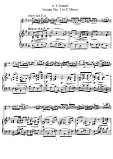 Sonata for Flute and Harpsichord in E Minor, HWV 359b Op.1 No.1b: Score by Georg Friedrich Händel