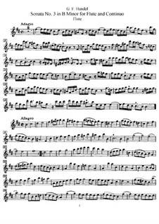 Sonata for Flute and Harpsichord No.3 in B Minor, HWV 376: Parte de solo by Georg Friedrich Händel