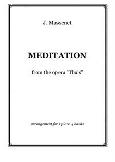 Meditation: para piano de quadro mãos by Jules Massenet