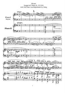 Sonata for Piano No.15 in F Major, K.533/494: arranjos para dois pianos de quatro mãos by Wolfgang Amadeus Mozart
