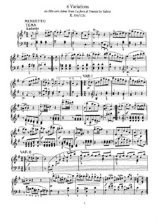Six Variations on 'Mio caro Adona' by A. Salieri, K.180: Para Piano by Wolfgang Amadeus Mozart