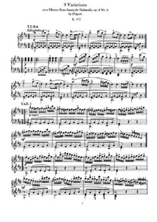 Nine Variations on Minuet by Duport, K.573: Para Piano by Wolfgang Amadeus Mozart
