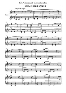 No.9 The New Doll: Para Piano by Pyotr Tchaikovsky
