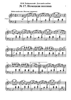 No.17 German Song: Para Piano by Pyotr Tchaikovsky