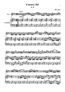 Sonata for Flute and Harpsichord No.1 in B Minor, BWV 1030: Movement IV – score, parts by Johann Sebastian Bach