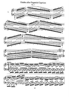 Etudes after Paganini's Caprices, Op.3: Para Piano by Robert Schumann