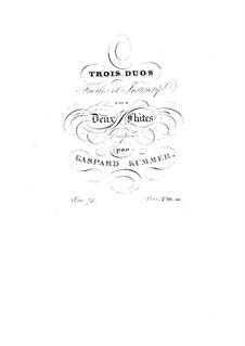 Trois duos faciles et instructifs pour deux flûtes, Op.74: flauta parte II by Kaspar Kummer
