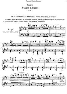 Manon Lescaut : Partitura Piano-vocal by Giacomo Puccini