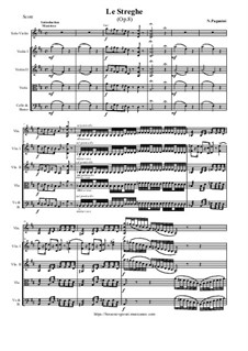 Le Streghe (Witches Dance), Op.8: For violin and string orchestra - score and parts by Niccolò Paganini