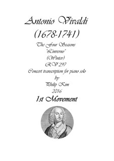 Violin Concerto No.4 in F Minor 'L'inverno', RV 297: movimento I, para piano by Antonio Vivaldi