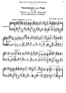 Variations and Fugue on Theme by G. Telemann, Op.134: Para Piano by Max Reger