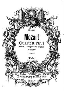 String Quartet No.1 in G Major, K.80/73f: parte viola by Wolfgang Amadeus Mozart